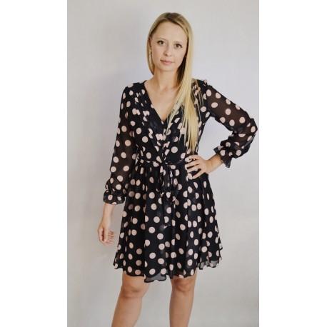 Sukienka w grochy - czarna